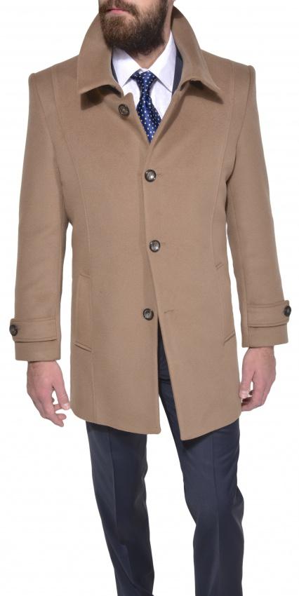 Bledohnedý vlnený kabát s kašmírom