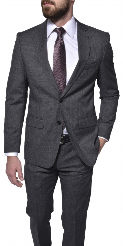 Šedý vlnený Slim Fit oblek