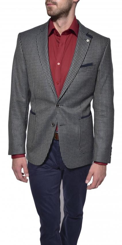 Checkered wool blazer