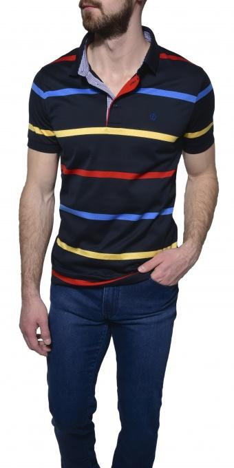 Dark blue striped polo shirt