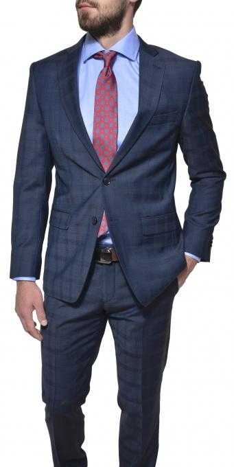 Tmavomodrý Slim Fit károvaný oblek