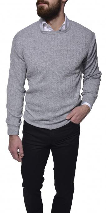 Šedý tkaný pulóver