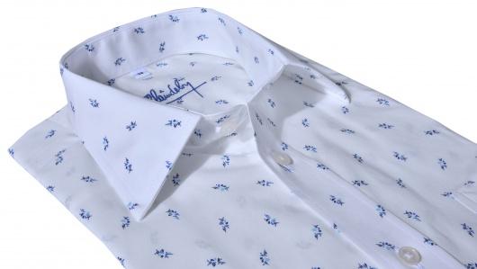 Biela Slim Fit printová košeľa s krátkym rukávom
