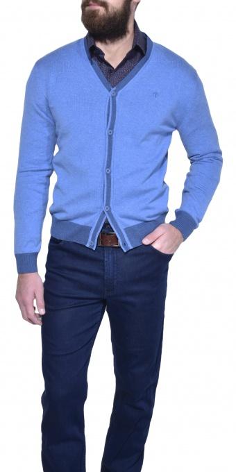 Modrý bavlnený sveter