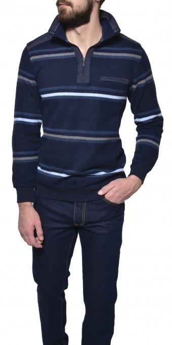 Prúžkovaný bavlnený pulóver