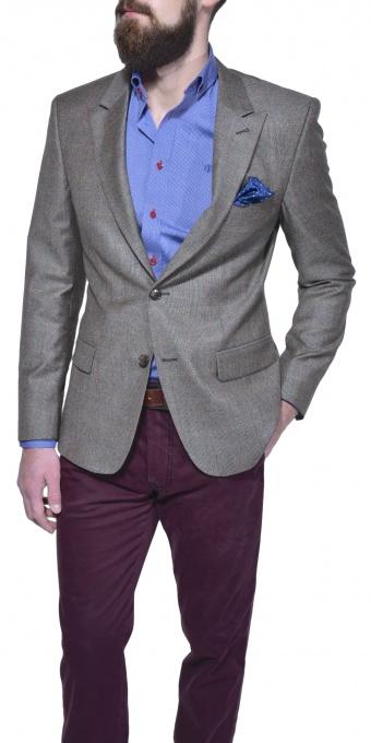 Hnedé vlnené kárované sako