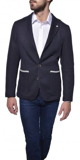 Modré nepodšité bavlnené sako