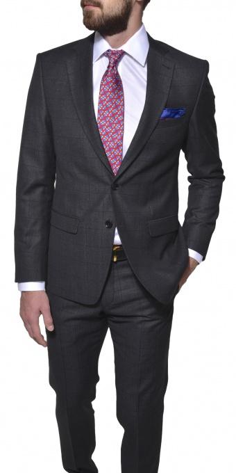 Šedý vlnený Ultra Slim Fit oblek
