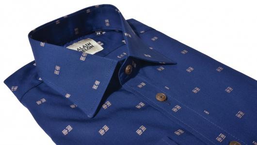 Tmavomodrá vzorovaná Slim Fit košeľa