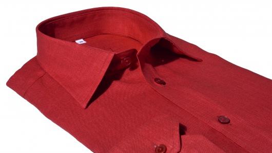 Červená Slim Fit ľanová košeľa