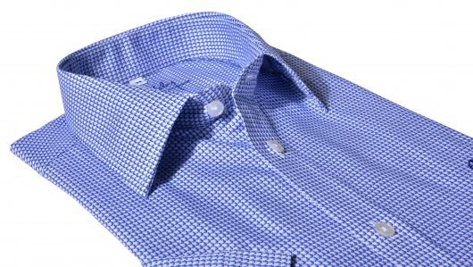 Modrá Slim Fit košeľa s krátkym rukávom