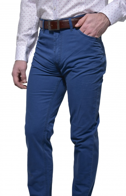 Blue casual five pocket trousers