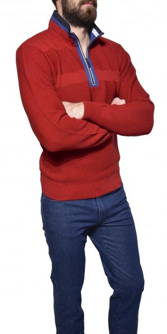 Červený voľnočasový pulóver
