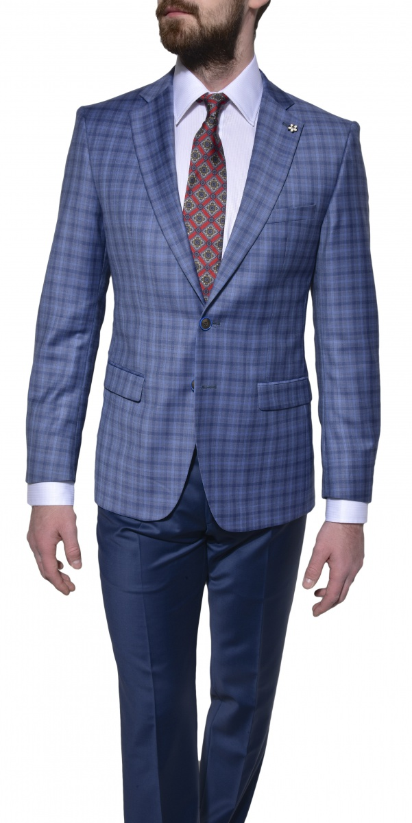 Blue wool checkered blazer