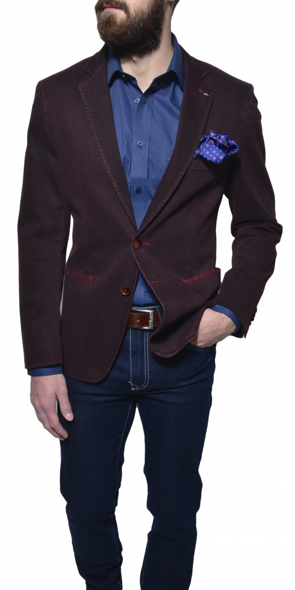 Burgundy cotton blazer