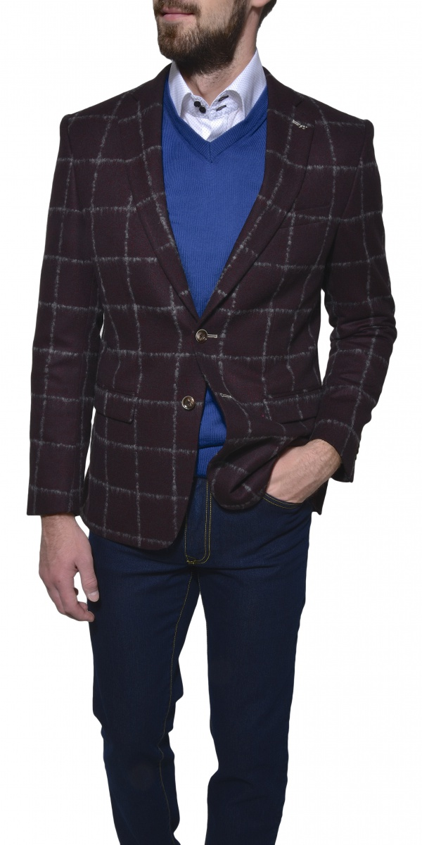 Burgundy checkered wool blazer