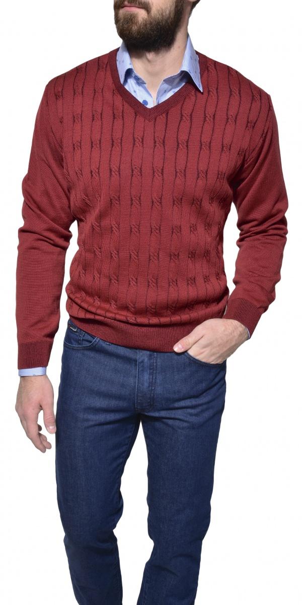 Bordový pletený pulóver
