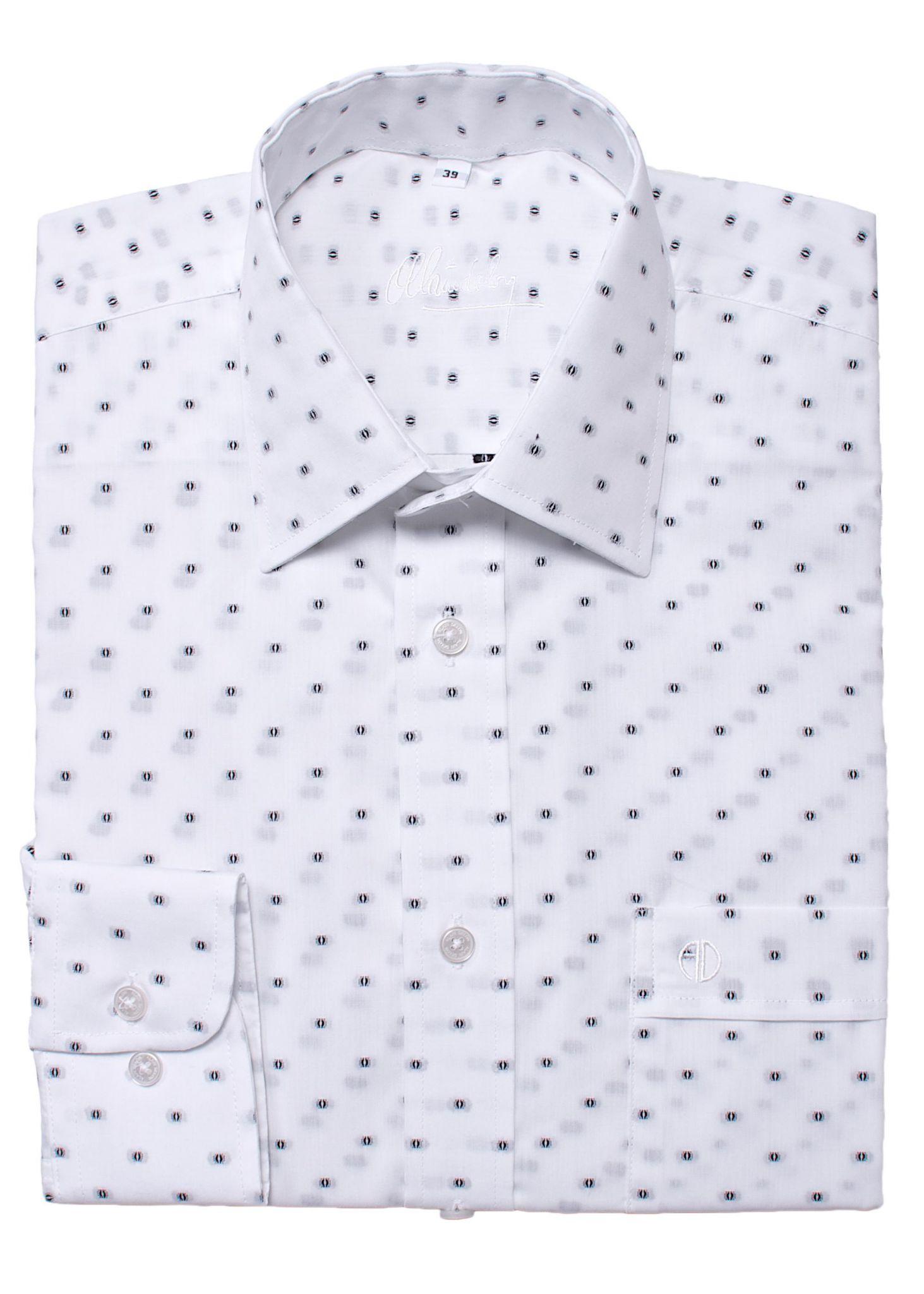 White Classic Fit patterned shirt - Shirts - E-shop | alaindelon.co.uk