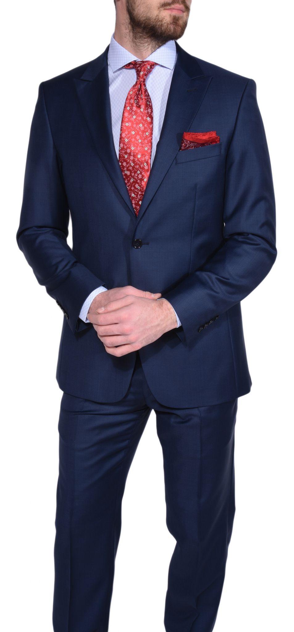 dark blue slim fit checkered suit suits eshop