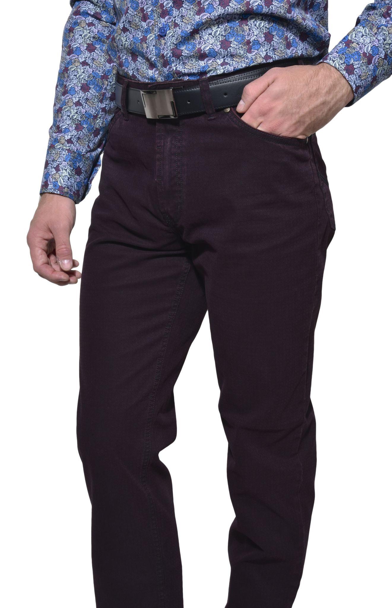 Bordové päťvreckové voľnočasové nohavice - Kalhoty - E-shop ... 35924f6a5e7