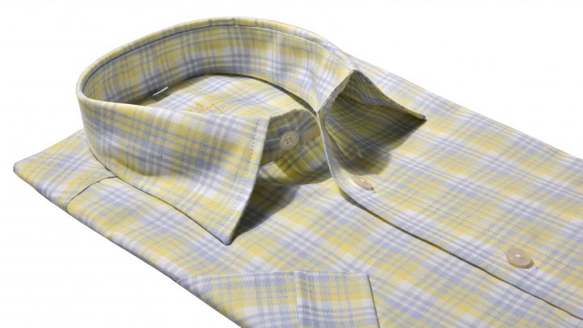 Yellow checkered Slim Fit short sleeved shirt