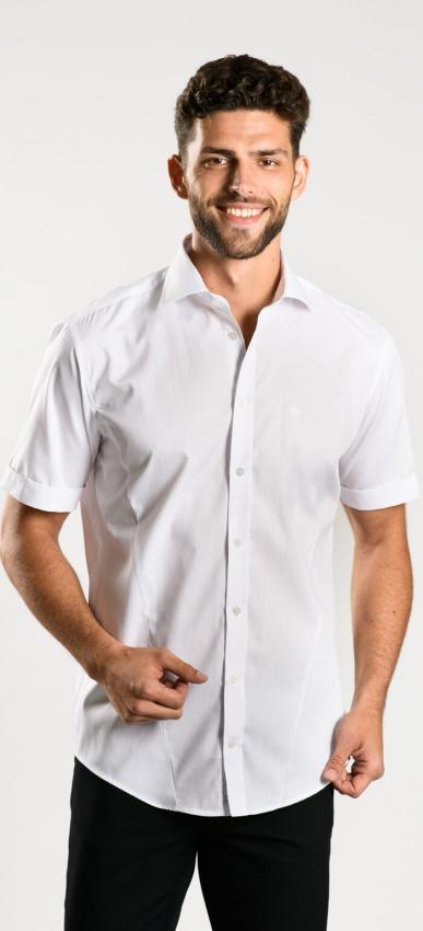 White Extra Slim Fit short sleeved shirt