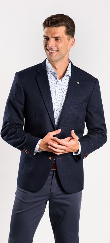 Dark blue cotton blazer - Basic line