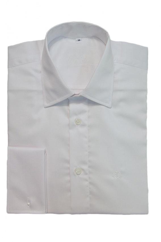 Biela slim fit košeľa na manžetový gombík