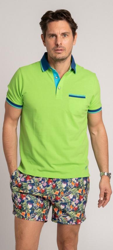 Green cotton polo shirt