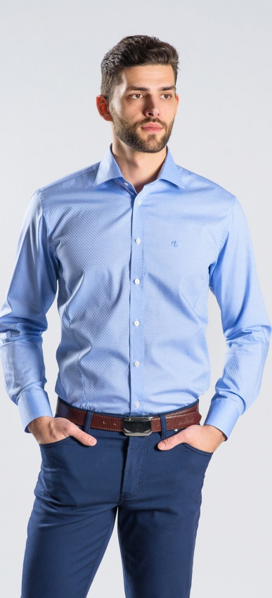 Modrá Extra Classic Fit košeľa rady Basic