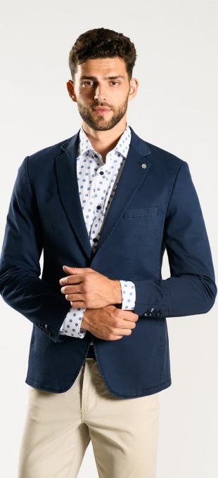 Dark blue cotton blazer - Basic line