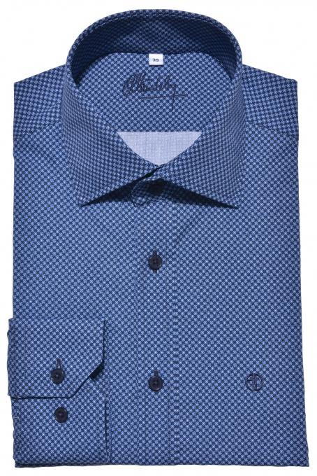 Dark blue Extra Slim Fit printed shirt