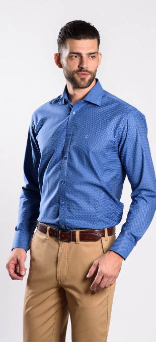 Blue Extra Slim Fit shirt with white dots