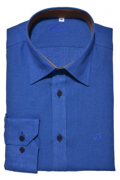 Dark blue Extra Slim Fit linen shirt