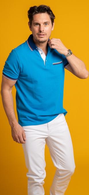 Light blue cotton polo shirt