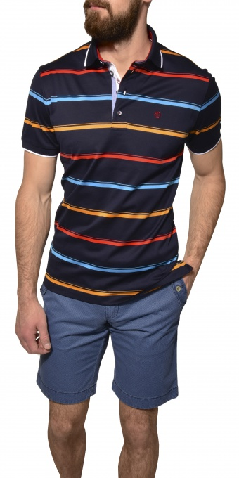 Dark blue striped polo shirt