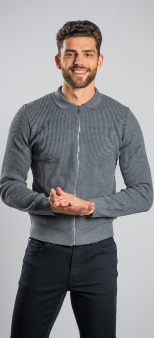 Grey zip sweater
