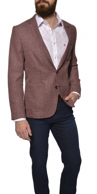 LIMITED EDITION burgundy houndstooth blazer