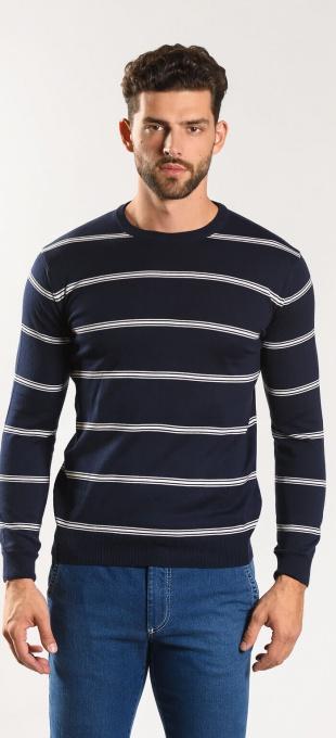 Dark blue cotton crewneck