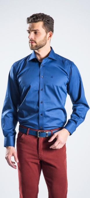 Tmavomodrá voľnočasová Slim Fit košeľa