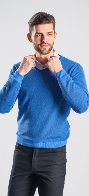 Blue cotton v-neck