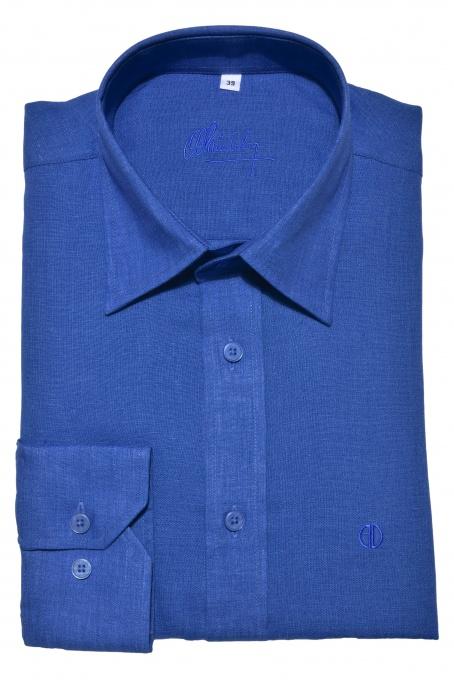 Dark blue Slim Fit linen shirt