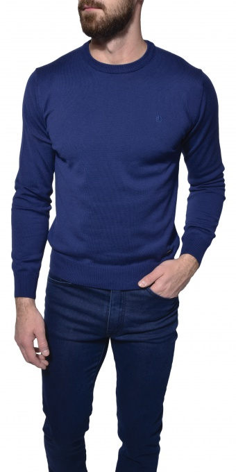 Dark blue cotton crewneck