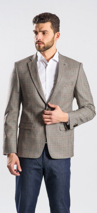 Wool checkered blazer
