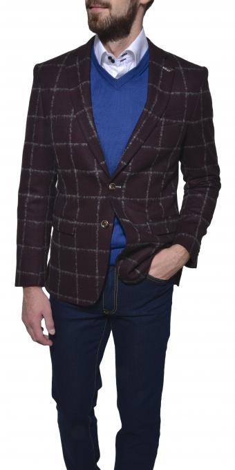 Bordové kárované vlnené sako