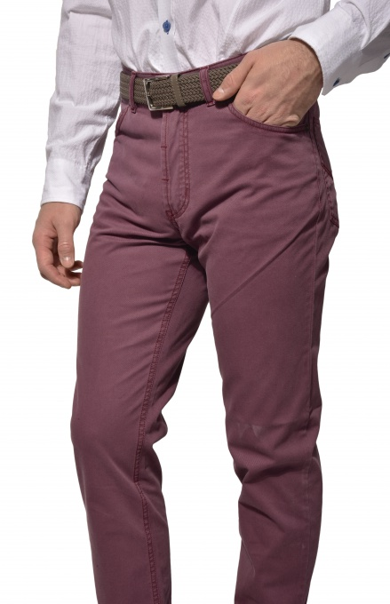 Purple five pocket trousers