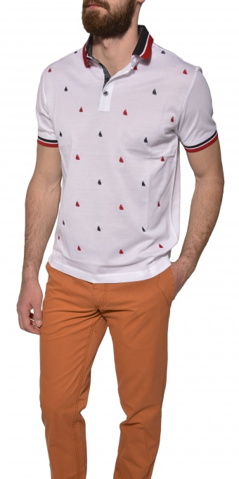 White patterned piqué polo shirt