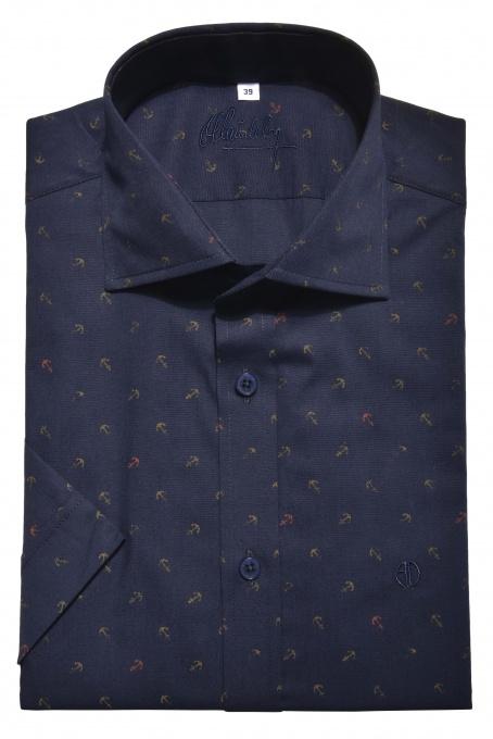 Tmavomodrá vzorovaná Extra Slim Fit košeľa s krátkym rukávom