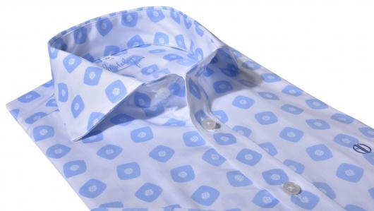 Bielo - modrá výrazná Extra Slim Fit košeľa s krátkym rukávom