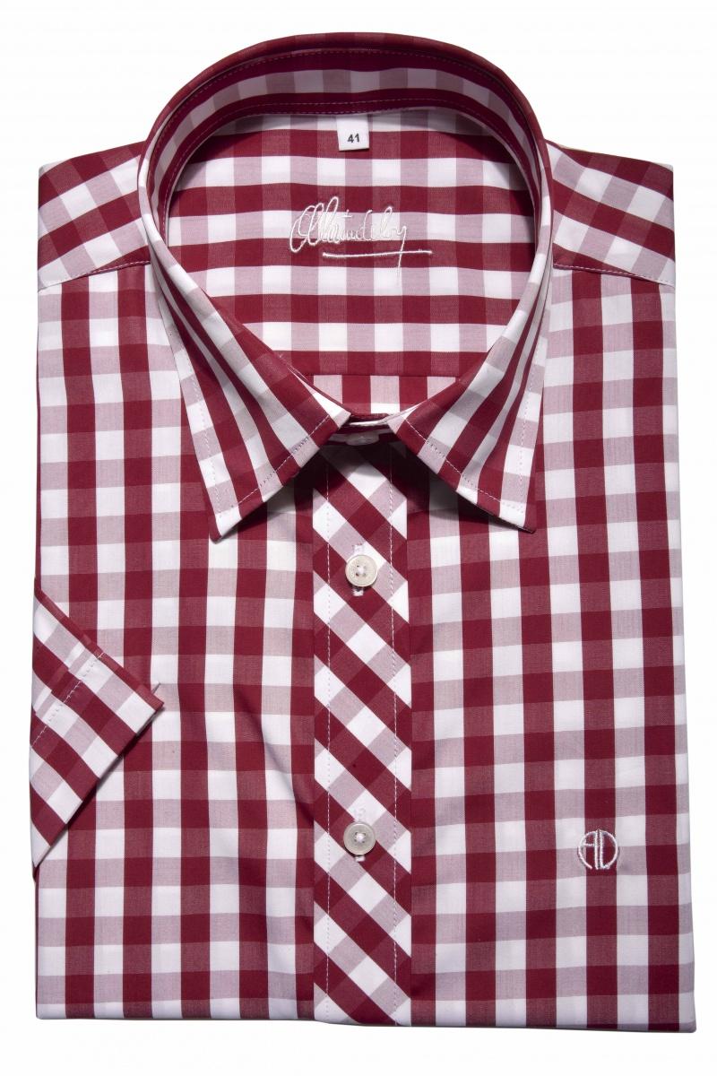 Červená károvaná Slim Fit košeľa s krátkym rukávom